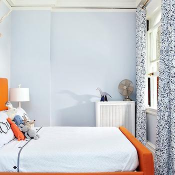 Amie Corley Interiors - boy's rooms - blue, walls, white, blue, drapes, orange, bed, white, monogrammed, duvet, shams, blue, stitching, blue and orange boys room, blue and orange boys bedroom, Sharon Montrose Print, Jonathan Adler Giraffe Lamp,