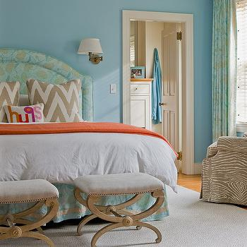 Orange Accent Chair Contemporary Bedroom