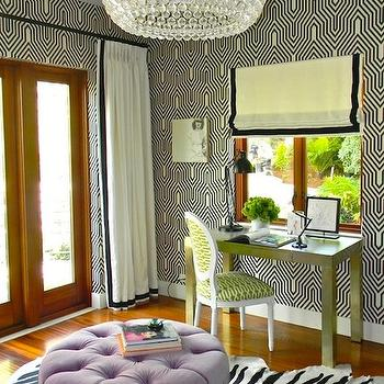 Kriste Michelini Interiors - girl's rooms - off-white, drapes, black, velvet, ribbon, trim, round, purple, velvet, tufted, ottoman, zebra, cowhide, rug, black and white wallpaper, black and white geometric wallpaper,