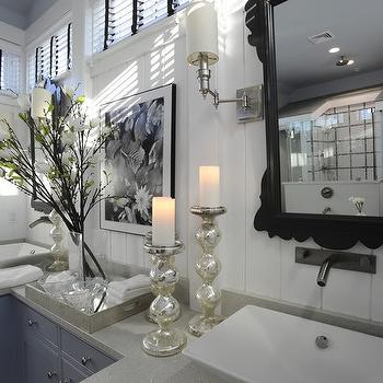 HGTV - bathrooms - white, wood panels, black, mirrors, brushed nickel, wall-mount, faucets, blue, double bathroom vanity, gray, quartz, tops, white, vessel, sinks, mercury glass, candle holders, mercury glass accessories, mercury glass bathroom accessories, mercury glass bathroom accents,