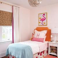 Amie Corley Interiors - girl's rooms - pale, pink, walls, white, drapes, fuchsia, ribbon, trim, layered, bamboo, roman shade, orange, clipped corners, headboard, pink, lumbar, pillow, blue, throw, pink, orange, rug, pink, flamingo, art, print, Viva Terra Lotus Flower Chandelier, Turquoise Moroccan Leather Pouf, Stray Dog Designs Jarmin Lamp in White,
