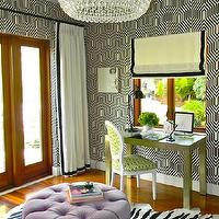 Kriste Michelini Interiors - girl's rooms - off-white, drapes, black, velvet, ribbon, trim, round, purple, velvet, tufted, ottoman, zebra, cowhide, rug,