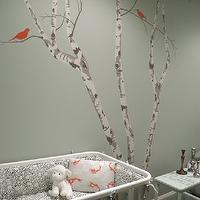 Color Theory Boston - nurseries - gray, green, walls, birch, tree, wall mural, white, modern, crib, treel mural, tree wall mural, wall stencil, tree wall stencil, tree stencil for wall,