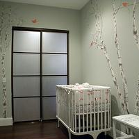 Color Theory Boston - nurseries - gray, green, walls, birch tree, wall mural, white, modern, crib, treel mural, tree wall mural, wall stencil, tree wall stencil, tree stencil for wall,