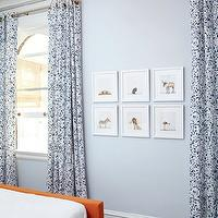 Amie Corley Interiors - boy's rooms - blue, walls, white, blue, drapes, white, blue, zigzag, chevron, rug, orange, bed, Sharon Montrose Print,