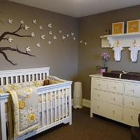 Kimberly Murdoch - nurseries - Dresser, Crib, Rug, Glider, Crib bedding, yellow and gray rooms, gray and yellow rooms, yellow and gray nursery, gray and yellow nursery,