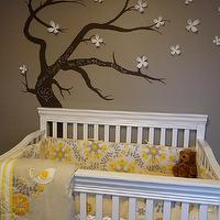 Kimberly Murdoch - nurseries - Crib, crib bedding, treel mural, tree wall mural, wall stencil, tree wall stencil, tree stencil for wall, ashley gray,