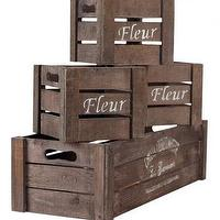 Decor/Accessories - Left Bank Crate Assortment - Set of 4 - Decorative Boxes - Home Accents - Home Decor | HomeDecorators.com - vintage, French, crates