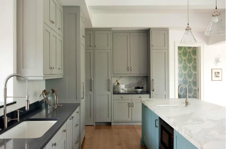 kitchen cabinets ideas » grey kitchen cabinets with black