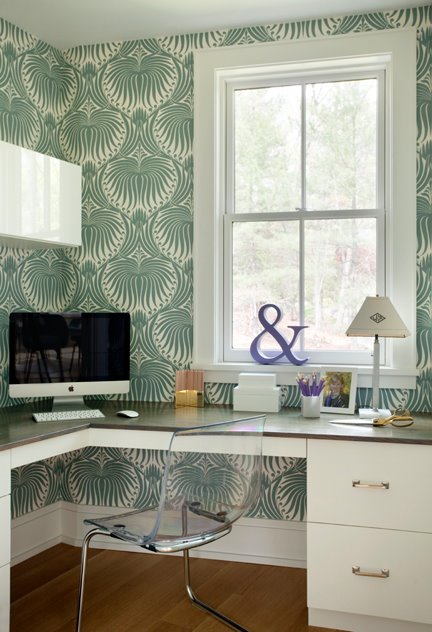 Liz Caan Interiors - dens/libraries/offices - L shaped, desk, green, wallpaper, ghost chairs ikea, ikea ghost chairs, ghost chair ikea, ikea ghost chair,