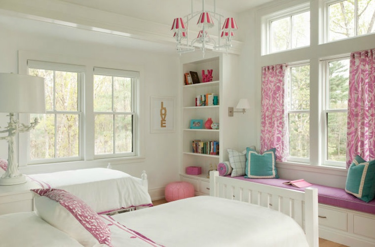 Liz Caan Interiors - girl's rooms - Made by Girl Gold LOVE Print, Pink Moroccan Leather Pouf, white, twin, beds, white, built-ins, bookcases, flanking, built-in, window seat, purple, cushion, white, piping, teal, blue, border, pillows, pink, damask, drapes,