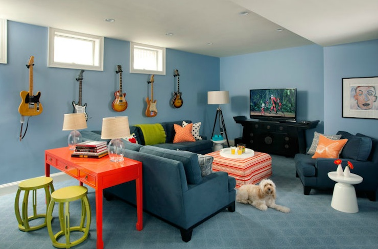 Basement Family Room - Contemporary - basement - Liz Caan Interiors