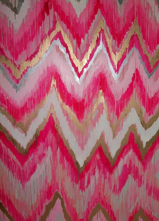 Art/Wall Decor - Cotton Candy Original ikat chevron 36x48 by JenniferMoreman - cotton candy, ikat, chevron, painting, art