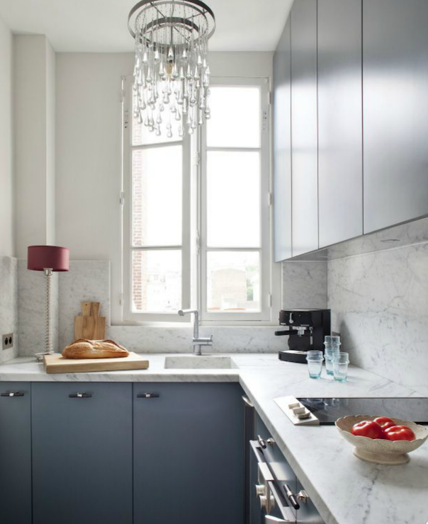 Rue Magazine - kitchens - French, windows, blue, kitchen cabinets, marble, tops, blue cabinets, blue kitchen cabinets, blue cabinets with white marble countertop,
