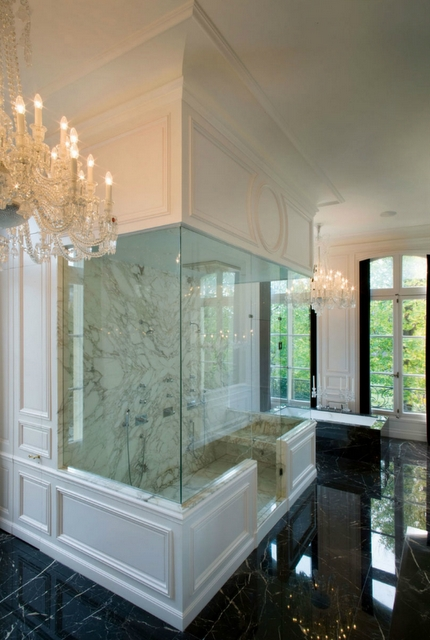 Kravitz Design - bathrooms - seamless glass shower, marble, tiles, shower surround, black, marble, tiles, floor, black, marble, drop-in, tub,