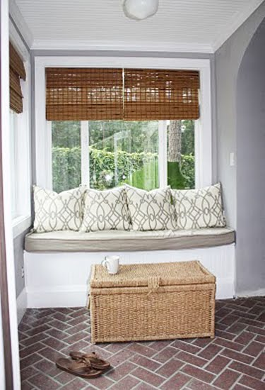 laundry/mud rooms - Fioretto Sprout Fabric, pillows, bamboo, roman shades, gray, walls, built-in, window seat, woven, trunk, brick, pavers, herringbone, pattern, herringbone floor, brick pavers, herringbone brick floor, mud room floor,