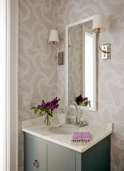 Lilac and gray bathroom transitional bathroom liz for Gray bathroom wallpaper
