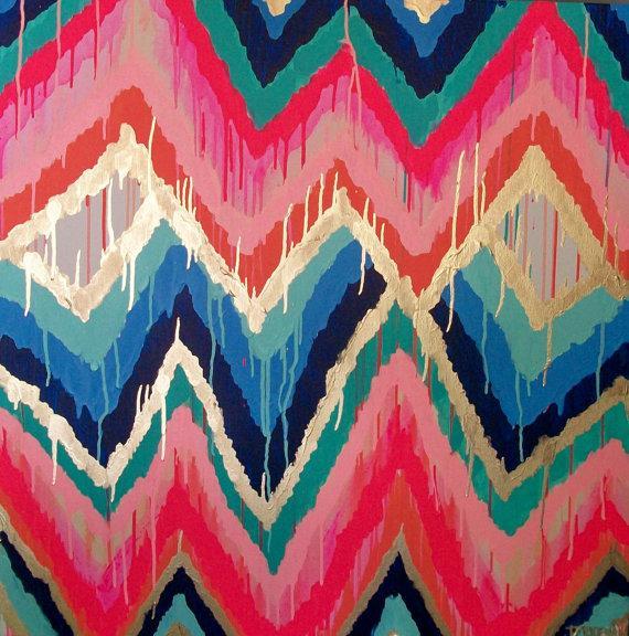 Art/Wall Decor - Sorbet Original ikat chevron 36x36 Painting by by JenniferMoreman - sorbet, ikat, chevron, painting, art