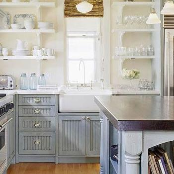 BHG - kitchens - white, open, shelves, bamboo, roman shades, schoolhouse, pendant, farmhouse, sin k, blue, gray, kitchen cabinets, marble, tops, blue, gray, kitchen island, butcher block, top gray blue cabinets, gray blue kitchen cabinets, gray blue kitchen island,