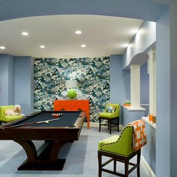 Liz Caan Interiors - basements - accent wall, blue, walls, orange, Chinese, chest, pool, table, green, stools, red, juju, hat, basement game room, game room, Chiang Mai Dragon China Blue Wallpaper, Stray Dog Designs Artichoke Lamp - Douglas Fir,