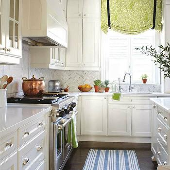 House & Home - kitchens - green, roman shade, black, ribbon, trim, floor to ceiling, white, kitchen cabinets, kitchen island, marble, countertops, marble, herringbone, pattern, backsplash, dash and albert rug, kitchen runner, white and blue rug, white and blue kitchen rug, white and blue kitchen runner, striped kitchen runner,