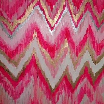 Cotton Candy Original ikat chevron 36x48 by JenniferMoreman