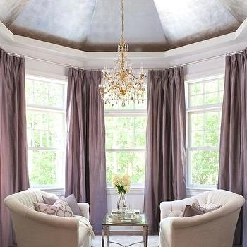 Traditional Home - living rooms - Ralph Lauren - Cape Cod - dome, ceiling, plum, silk, pinch-pleat, drapes, white, tufted, sofas, purple curtains, purple drapes, purple window panels, silk purple curtains, silk purple drapes, silk purple window panels, floor to ceiling purple curtains, floor to ceiling purple drapes,