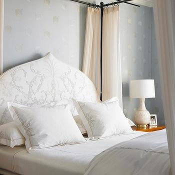 Katie Ridder - bedrooms - blue, wallpaper, silver, leaf, design, Moroccan, silhouette, white, silver, headboard, iron, canopy, bed, white, sheers, canopy bed, iron canopy bed, canopy bed with headboard, iron canopy bed with headboard, moroccan headboard, white and silver headboard, moroccan silhouette headboard,