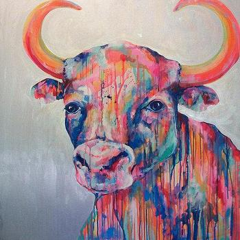 Art/Wall Decor - Ole the Bull Original 36x36 Painting by by JenniferMoreman - ole the bull, painting, art