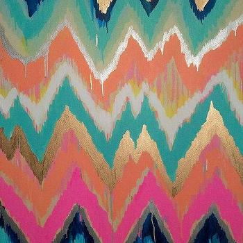 Custom ikat chevron 30x30 Painting by Jennifer by JenniferMoreman