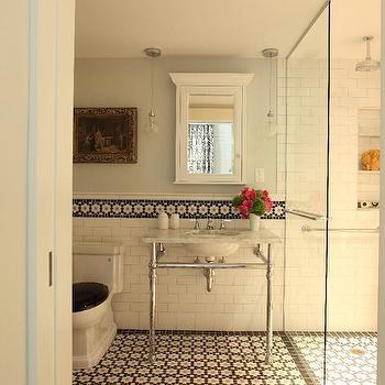 Mosaic Daisy Tile Floor, Mediterranean, bathroom, Liz Caan Interiors
