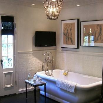 Abbott Moon - bathrooms - TV, pencil rail, freestanding, tub, art, espresso, wood floors, spa like bathroom, spa bathroom,  Spa like bathroom