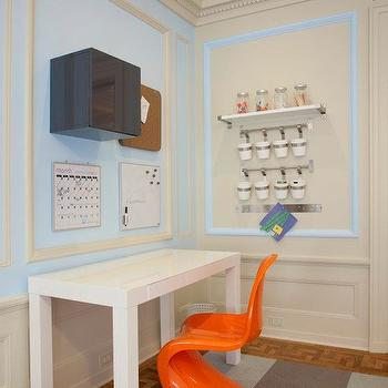 Lily Z Design - boy's rooms - two tone walls, two tone painted walls, decorative wall moldings, boys playroom, play room, playroom, boys play room, Panton Chair - Tangerine, West Elm Parsons Desk, FLOR Tiles,