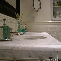 Abbott Moon - bathrooms - marble, nook, marble, top, 2-leg, washstand, marble top bathroom vanity, bathroom vanity with marble top, marble washstand,