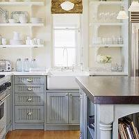 BHG - kitchens - white, open, shelves, bamboo, roman shades, schoolhouse, pendant, farmhouse, sin k, blue, gray, kitchen cabinets, marble, tops, blue, gray, kitchen island, butcher block, top,