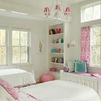 Liz Caan Interiors - girl&#039;s rooms - white, twin, beds, white, built-ins, bookcases, flanking, built-in, window seat, purple, cushion, white, piping, teal, blue, border, pillows, pink, damask, drapes, Made by Girl Gold LOVE Print, Pink Moroccan Leather Pouf,