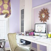 Muse Interiors - dens/libraries/offices - purple, green, roman, shade, purple, walls, white, purple, striped, ceiling, bulletin board, brass, sunburst, mirror, white, built-ins, flanking, desk, green, zebra, print, chair,