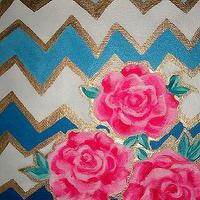 Art/Wall Decor - Made to Order Chevron and Roses 36x36 by JenniferMoreman on Etsy - chevron, roses, painting, art