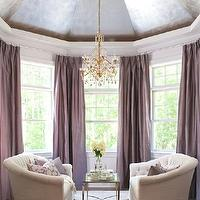 Traditional Home - living rooms - Ralph Lauren - Cape Cod - dome, ceiling, plum, silk, pinch-pleat, drapes, white, tufted, sofas,  Hampton Designer