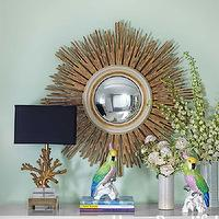 House Beautiful - living rooms - gold sunburst mirror, hobbs mirror, mint green walls, gold coral lamp, Julian Chichester Hobbs Mirror,  Fawn