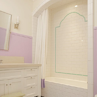 Abbott Moon - bathrooms - arched, shower, drop-in, tub, , white, shower curtain, lilac, band, lilac, beadboard, walls, rectangular, pivot, mirror, flanked, nickel, sconces, white, bathroom vanity, wood floors, alcove, bathtub, alcove, shower alcove,