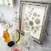 Traditional Home - bathrooms - polished, carrara, marble, top, subway tiles, backsplash, perfume, bottles, silver, frame, carrara marble subway tile, carrara marble subway tile backsplash, carrara marble subway backsplash,