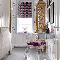House Beautiful - girl&#039;s rooms - mirrored, desk, fuchsia, tufted, cushion, gold, etagere, lucite chairs,  Fawn Galli Interiors - Farfalla Wallpaper