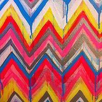 Art/Wall Decor - Custom ikat chevron 16x20 Painting by Jennifer by JenniferMoreman - ikat, chevron, painting, art