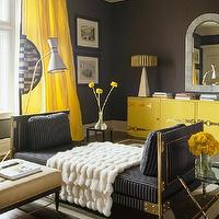 Eric Piasecki Photography - living rooms - charcoal, gray, walls canary, yellow, silk, drapes, glossy, yellow, lacquer, cabinet, brass, hardware, navy, blue, striped, chaise lounge, nickel, faux bamboo, glass-top, end tables, yellow and gray living room, yellow curtains, yellow drapes, yellow window panels, canary yellow curtains, canary yellow drapes, canary yellow window panels,