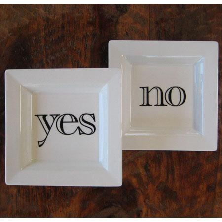 Decor/Accessories - Yes + No Plate Set by Christopher Jagmin - Spark Living - online boutique for unique home decor, gifts and accessories - yes, no, plate, set