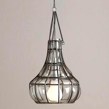 Lighting - Blown Glass Basket Pendant | World Market - blown, glass, basket, pendant, light