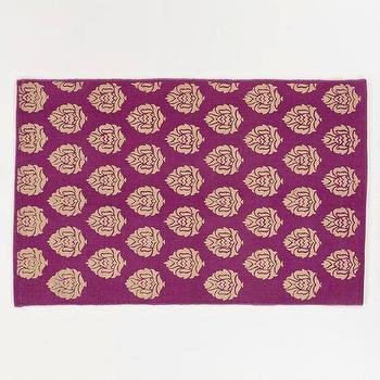 Rugs - 2'x3' Purple and Gold Block Print Dhurrie Rug | World Market - purple, gold, block, rug