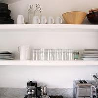 The Glitter Guide - kitchens - marble, tops, white, floating shelves,  Heidi Merrick - Marble countertops and white floating shelves.