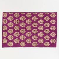 Rugs - 2&#039;x3&#039; Purple and Gold Block Print Dhurrie Rug | World Market - purple, gold, block, rug